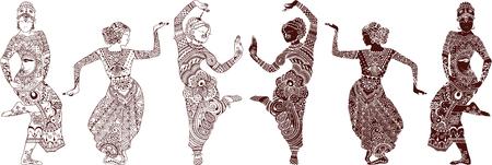 bailarines silueta: bailarines indios conjunto de dibujado a mano de estilo mehendi