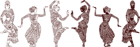 danseuse: danseurs indiens jeu de mehendi style dessiné à la main Illustration