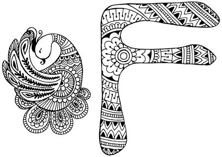 alfabeto con animales: letra F decorado en el estilo de Mehndi