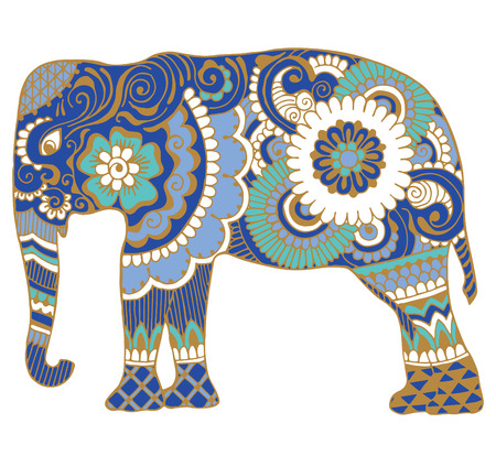 east indian: Asian elephant with patterns