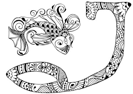 indian fish: letter J decorated in the style of mehndi