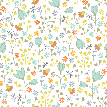 vernal: seamless pattern with spring flowers Illustration
