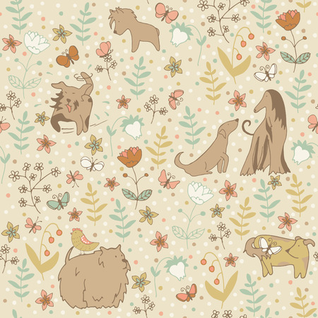 Spring seamless pattern with dogs on the meadow