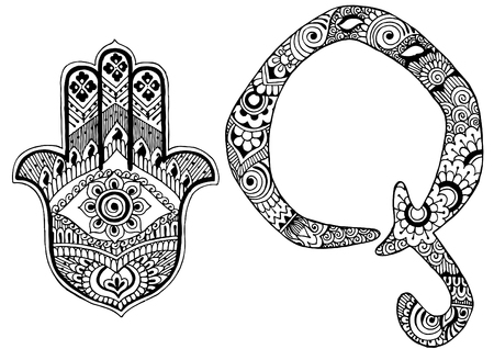 roman alphabet: letter Q decorated in the style of mehndi