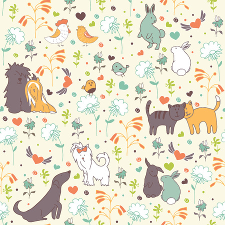 vernal: seamless pattern pattern with enamored animals