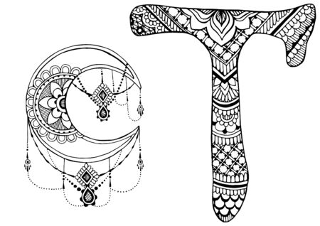 letter T decorated in the style of mehndi