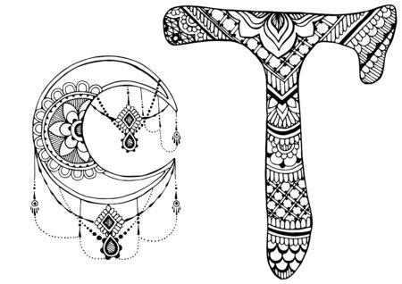 lettre T décoré dans le style de mehndi