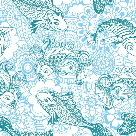 blue fish: Seamless pattern with fish. Background decorated in an Asian style.