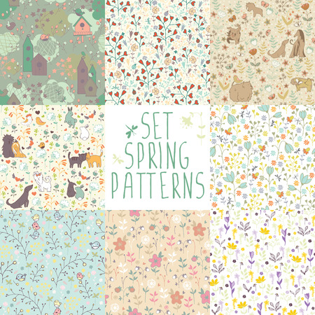 Set spring seamless patterns. 8 different backgrounds with hand-painted flowers and animals. Illustration