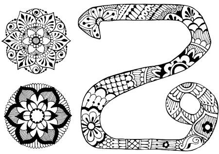 roman alphabet: letter Z in the style of mehndi