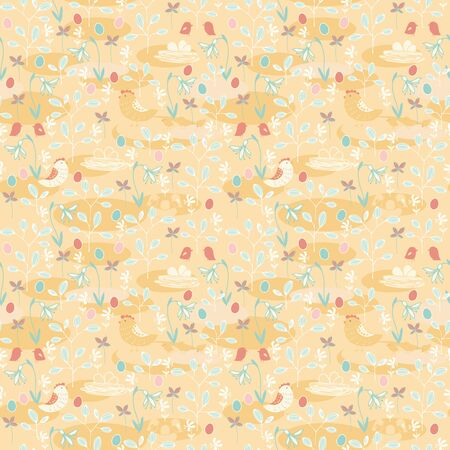 vernal: Seamless pattern of spring theme. Birds and eggs on a floral background. Illustration