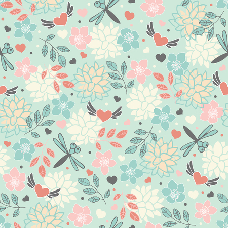 vernal: Spring seamless pattern with flowers and hearts Illustration