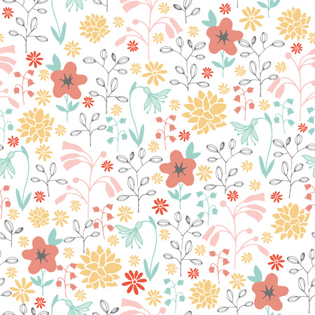 Seamless pattern with different flowers Illustration