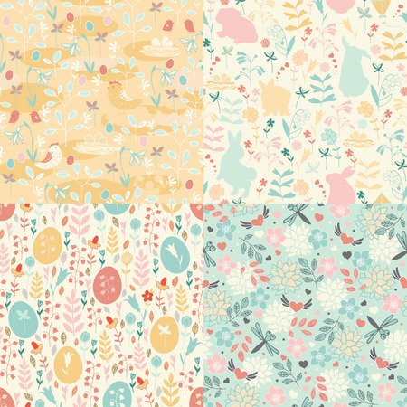 vernal: Seamless patterns Easter theme with hand painted funny bunnies, eggs and birds.
