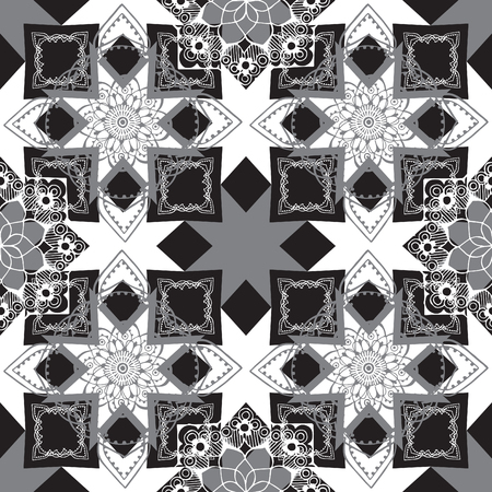 ornately: Seamless monochrome geometric pattern with oriental decor. Illustration