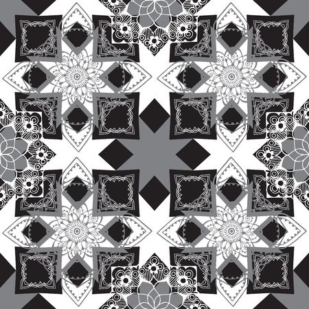 ornately: Seamless monochrome geometric pattern with oriental decor. Illustration