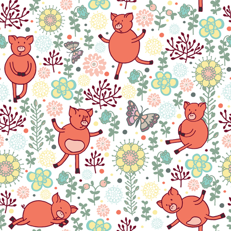 piglets: pigs on a meadow seamless pattern Illustration