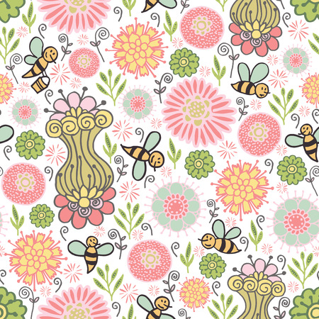 Seamless pattern with bees and flowers