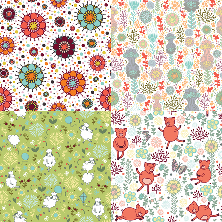 piglets: Four seamless pattern with animals and nature