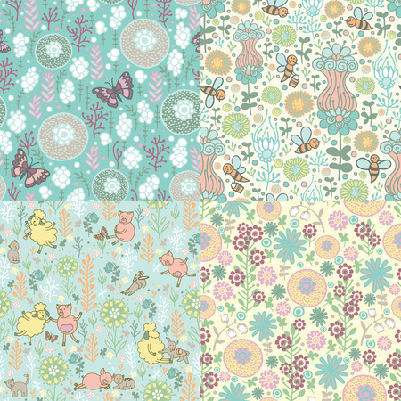 piglets: Four fun seamless pattern with nature. Hand-painted flowers, sheep, pigs and bees.