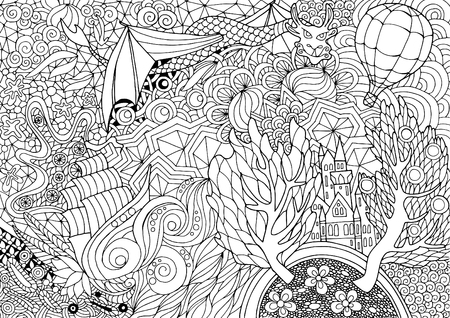 Coloring with a fabulous kingdom in abstract pattern Illustration