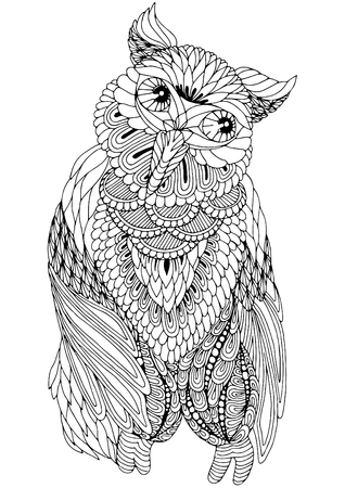 anti stress: anti stress owl coloring with decorative elements on a white background Illustration