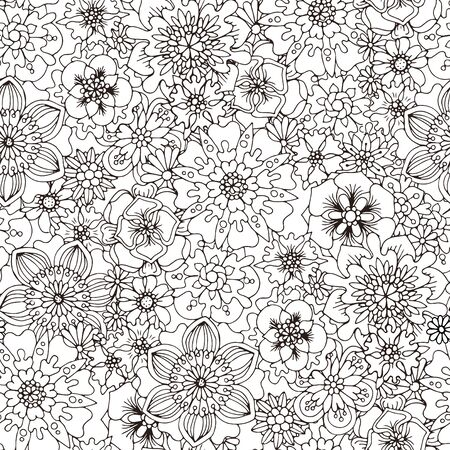 anti season: black and white seamless pattern for coloring