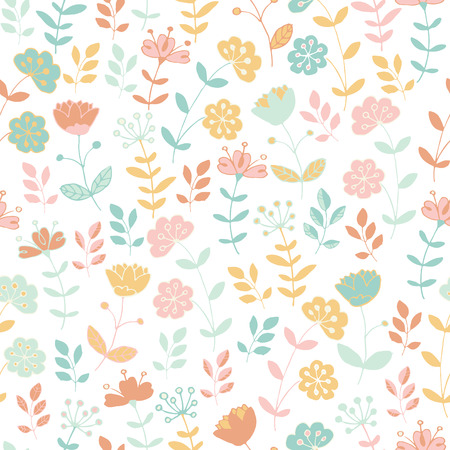 child's: Light seamless floral pattern with stylized flowers