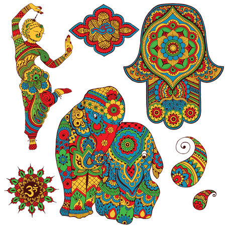 ohm: A set of Indian symbols for design. Sign Ohm, dancer, elephants, Hamsa, paisley painted in mihendi style.