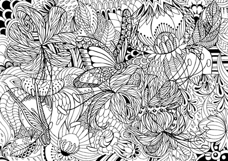 abstractly: Black and white abstraction with flowers and butterflies. Page coloring.