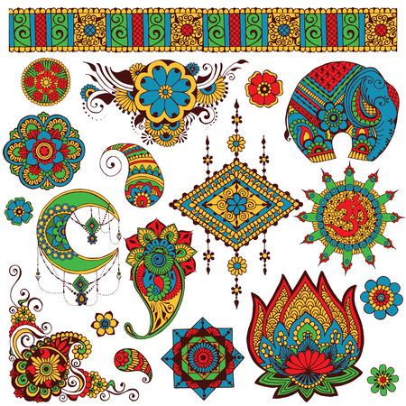 Un conjunto de símbolos para el diseño de la India Foto de archivo - 61045596