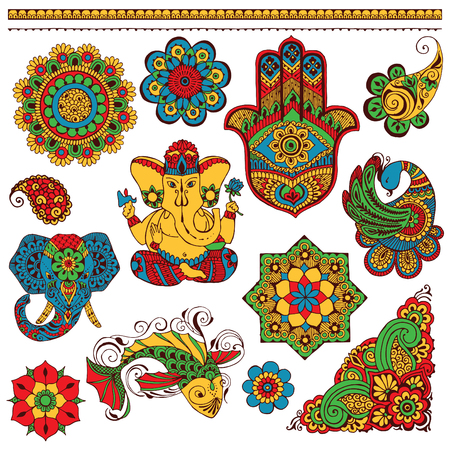 indian fish: A set of Indian symbols for design painted in the style of mihendi Illustration