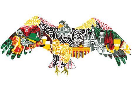 dcor: eagle designs and miniatures symbolizing Germany Illustration