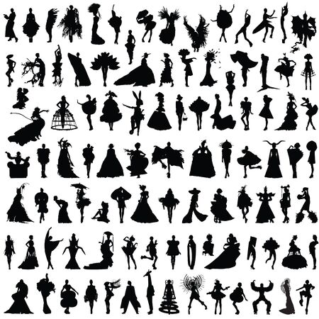 avant: set of silhouettes of women in unusual clothes Illustration