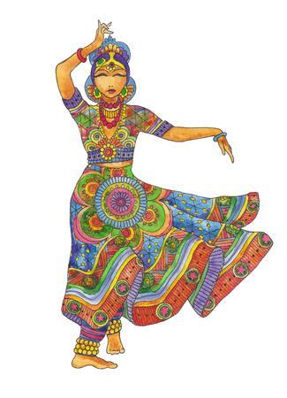 bailarinas arabes: Bailarín indio en traje tradicional en un fondo blanco