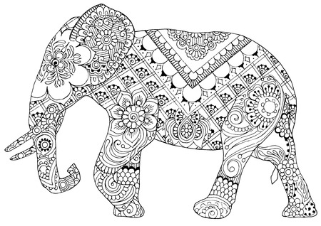 indian animal: silhouette of an elephant painted ornaments in the style of mihendi Illustration