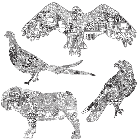 dcor: A set of animals with patterns, symbols, ornaments symbolizing a particular country. 4 black and white isolated animals. The dog, hawk, eagle, pheasant. Illustration