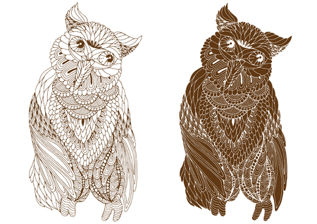 abstractly: ornate owl pattern on a white background