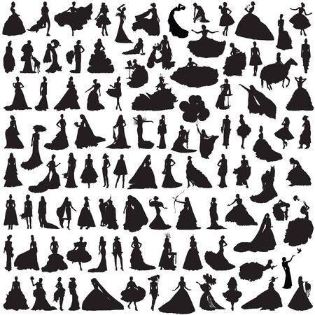 siluetas de mujeres: 100 mujeres siluetas sobre fondo blanco. Novia en diferentes poses y vestidos. Vectores