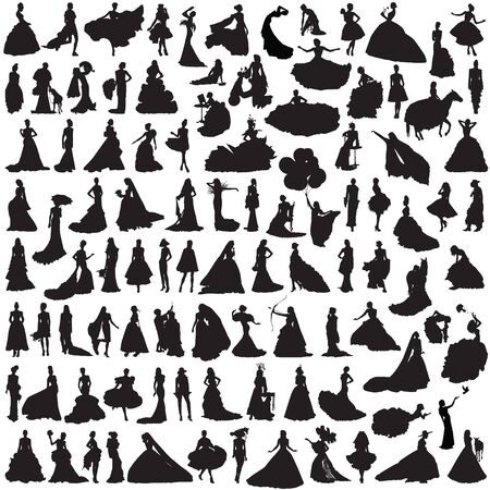 siluetas mujeres: 100 Women silhouettes on white background. Bride in different poses and dresses.