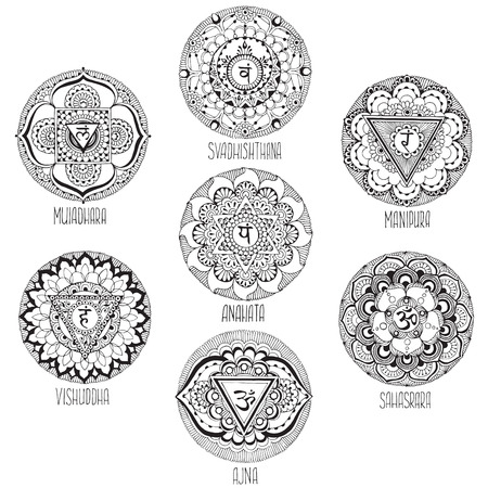 vishuddha: 9 mandalas style mihendi symbolizing chakras