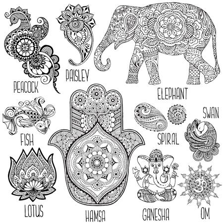 indische muster: Lotus, Hamsa, Elefant, Ganesha und andere in mihendi verwendeten Symbolen.