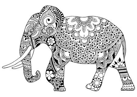 Indische olifant in stijlmihendi op een witte achtergrond