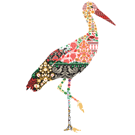 decorative patterns: silhouette of a crane with a Ukrainian pattern on a white background