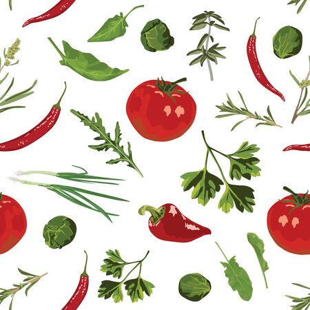 Various herbs and spices on a white background. Seamless pattern.