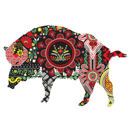 Boar is richly decorated with patterns in Polish style. Illustration