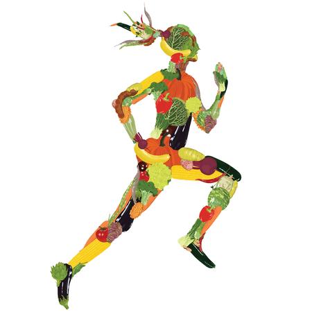 Silhouet van een actieve man uit groenten en fruit. Stock Illustratie