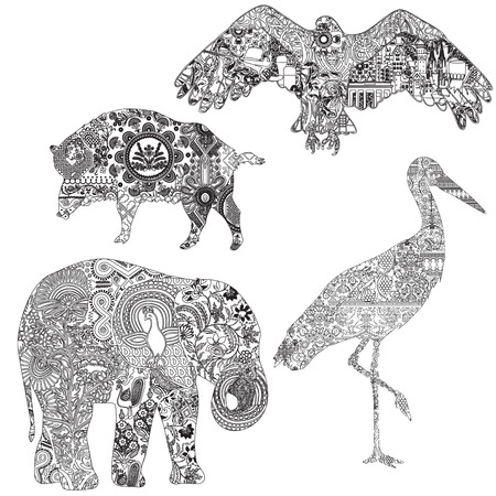 4 animals symbolizing different countries. An elephant with Indian patterns, a stork with a Ukrainian, a wild boar with a Polish and an eagle with Germanic patterns. Illustration