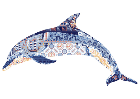 Silhouette of dolphin decorated with ornament in Greek style. Illustration
