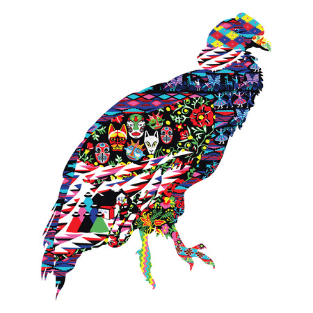 Bird Condor decorated with Ecuadorian patterns. vector illustration.